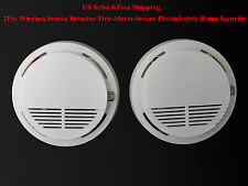 US 2Pcs Wireless Smoke Detector Fire-Alarm-Sensor Photoelectric Home Security