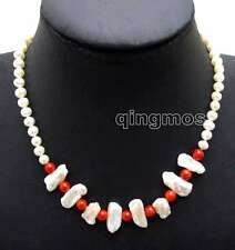 """SALE 6-7mm White pearl & 12-15mm Biwa Pearl & 6-7mm Red Coral 17"""" Necklace-6126"""