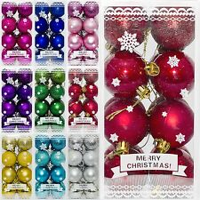 16 Christmas 6cm Glitter Metallic Hanging Baubles Tree Ornaments Decorations