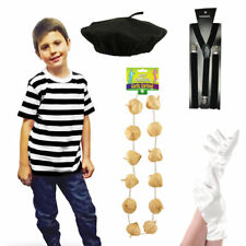 Childs French Man Artist Fancy Dress TShirt Beret Braces Gloves Costume Outfit