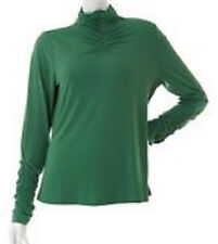 NEW SUSAN GRAVER Liquid Knit Long Sleeve Turtleneck With Ruching Detail 218464