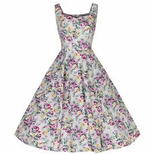 50s Cocktail Party Cotton Natural Floral Strappy Rockabilly Swing 50s Dress 8-18