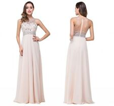 Long Beading Chiffon Lace Evening Formal Party Ball Gown Prom Bridesmaid Dress