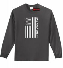 Second 2nd Amendment American Flag L/S T Shirt Patriotic Gun Rights Tee Z1