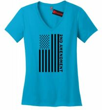 Second 2nd Amendment American Flag Ladies V-Neck T Shirt Patriotic Gun Tee Z5