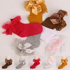 Cute Children Girls Kids Bow Lace Durable Solid Soft Cotton Socks Lot Autumn
