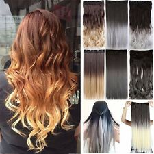 Mega Thick Clip in Ombre Hair Extensions Grey Brown Dip Dye AS Human hair tgbnm