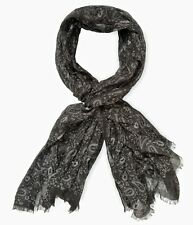 John Varvatos Collection Men's Paisley Black Scarf Made in Italy $228 msrp NWT