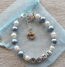 Personalised New Baby Boy Blue Charm Bracelet - Baby Feet & Love Heart
