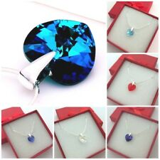 NECKLACE with Swarovski Elements Crystal 10 mm Heart Sterling Silver Chain BOX