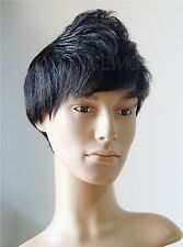 Real human hair Men 's Short full HEAD wig Father wigs hairpiece toupee wiggery