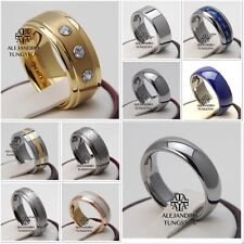 Tungsten Ring Wedding Band Comfort 8MM 6MM Men's Gold Silver Size 6 to 14 #AA01