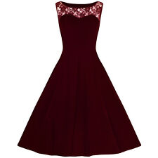 Burgundy Velvet Lace Rockabilly Cocktail 50s Sleeveless Rockabilly Swing Dress