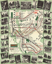 1939 New York Subway Map BMT Rapid Transit Elevated Lines Wall Art Poster Print