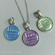 NL0443 Graceful Garden Handmade Enamel Live in the Moment Charm Pendant Necklace