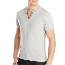 John Varvatos Star USA Men's Short Sleeve Eyelet Henley Grey Cotton $88 msrp NWT