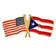 PinMart's USA and Puerto Rico Crossed Friendship Flag Lapel Pin