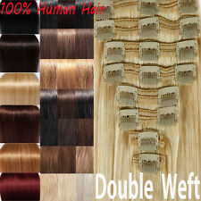 THICK DOUBLE WEFT Brazilian Clip In Remy Human Hair Extension Full Head UK X708