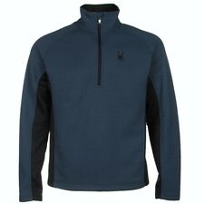 NEW Mens S SPYDER Sagan Blue Black Outbound Half Zip Mid Weight Core Sweater