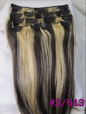 16''~26'' 160g Virgin Remy Hair Clip In 100%Real Human Hair Extension Mix Blonde