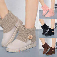 Women's Suede Snow Boots Knitted Thicken Ankle Winter Short Booties Warm Shoes