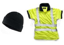 Standsafe Reflective Security Hi Vis Work Polo T-Shirt, Yellow FREE HAT