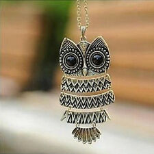 2016 New Silver bronze  Necklace Hot Retro  Vintage  Long Chain Owl Pendant