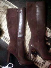 Nine West 9.5 M $189 High Heel Boots Brown Leather & Suede GetMGirl Zip Close