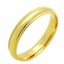 Men's 14K Yellow Gold 4mm Milgrain Plain Domed Wedding Band Ring / Gift Box