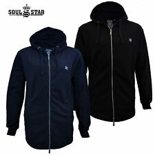 Mens Soulstar Plain Longline Zip Up Hooded Sweatshirt Hoodie Jacket Curved Hem