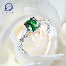 Merthus 1.8CT Princess Cut Emerald 925 Sterling Silver Ring Jewlery Size 6 7 8 9