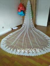 1 layer White Ivory Cathedral Lace Edge Bridal Veils Wedding Veil With Comb