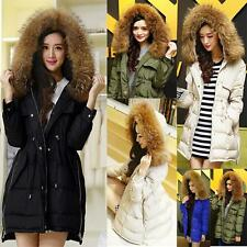 Women's Cold Weather 100% Real Giant Fur Collar Hoodie Down Jacket Coat Parka