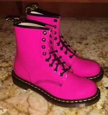 NEW Womens Sz 5 DR MARTENS 1460 Shiny Hot Pink Patent Leather 8 Eye Ankle Boots