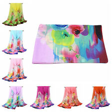 155*50cm Women Long Soft Wrap Shawl Summer Beach Floral-Print Silk Chiffon Scarf