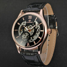 BLACK Skeleton Dial Automatic Mechanical Mens Synthetic Leather Strap Watches