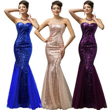 Mermaid Sequined Long Evening Strapless Ball Gown Bridesmaid Party Formal Dress