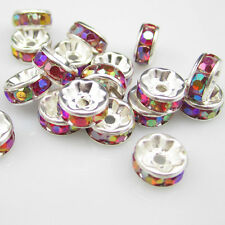 Free shipping NEW Fashion 20pcs 8MM Plated silver crystal spacer beads Red BZG21