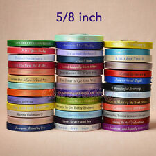 """5/8"""" 25/50/100-Yard Satin Personalized Ribbons Craft Bow Party Wedding Decor New"""