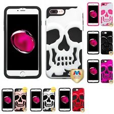 For Apple iPhone 7 Plus [5.5] Ivory Skull Skullcap Hybrid Hard Soft Case Cover
