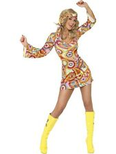 Ladies Hippie 60s 70s Groovy Hippy Chick Fancy Dress Hen Night Costume Outfit