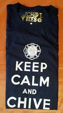 Authentic Navy Blue Firefighter Keep Calm and Chive On Tee - KCCO - Size Large
