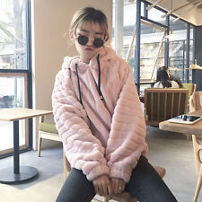 Winter Women rabbit Ears Hooded Sweater Hoodies Pullover Coat Wool Thicken Gift