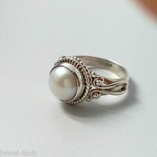 Fresh Water Pearl Pure 92.5 Solid Sterling Silver Handmade Ring Size 4-13 (US)