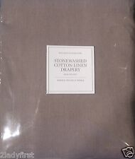 "2 Restoration Hardware STONEWASHED COTTON LINEN Rod Pocket Drapes~100x84""~WALNUT"