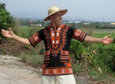 Dashiki Afrikan Summer Lose Fit Thailand Style Quality In Orange / Black sz 3XL