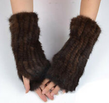 Women's Real Farm Knitted Mink Fur Top Great Winter Mittens Gloves Warmer Coming