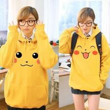 Pokemon Pikachu Hoody Ears Face Tail Zip Sweatshirt Hoodie Costume couple