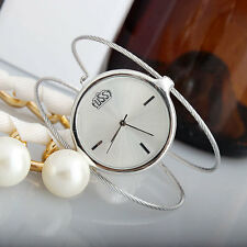 Women's Steel Wire Round Dial Hour Analog Quartz Bracelet Bangle Wrist Watch 1Pc