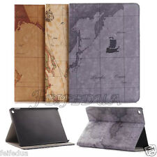 World Map Leather Ultra Thin Smart Stand Wallet Case Cover For All iPad Tablets
